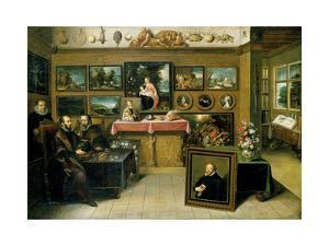 A Collector's Cabient with Abraham Ortelius and Justus Lipsius by Frans Francken the Younger