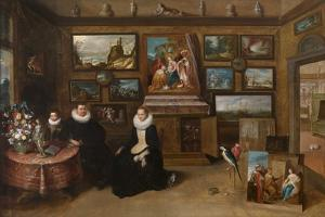 The Kunstkammer with a Married Couple and their Son, First Third of 17th C by Frans Francken the Younger