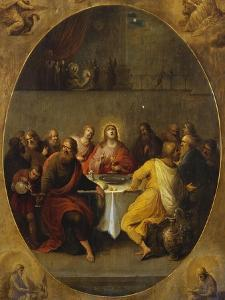 The Last Supper in a Painted Oval in a Surround Decorated with the Four Evangelists and God the… by Frans Francken the Younger