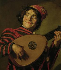The Clown with the lute. by Frans Hals