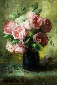 Pink Roses in a Vase by Frans Mortelmans