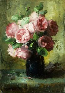 Pink Roses in a Vase by Frans Mortelmans