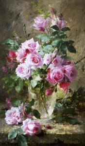 Still Life of Pink Roses in a Glass Vase by Frans Mortelmans