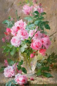 Still Life of Roses in a Glass Vase by Frans Mortelmans
