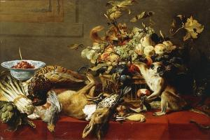 A Basket of Fruit on a Draped Table with Dead Game and a Monkey by Frans Snyders