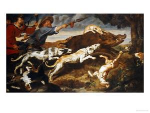A Boar Hunt by Frans Snyders