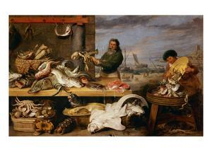 A Fish Market . (The Characters of Cornelis De Vos) by Frans Snyders