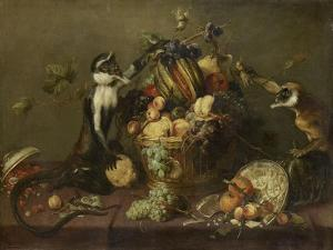 Deux singes pillant une corbeille de fruits by Frans Snyders