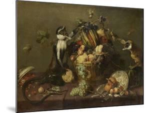Deux singes pillant une corbeille de fruits by Frans Snyders