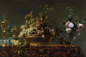 Grapes in a Basket and Roses in a Vase by Frans Snyders
