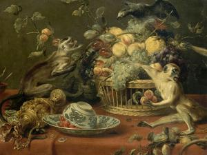Singes et perroquet auprés d'une corbeille de fruits by Frans Snyders