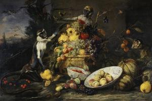 Still Life with Fruits and Monkeys by Frans Snyders
