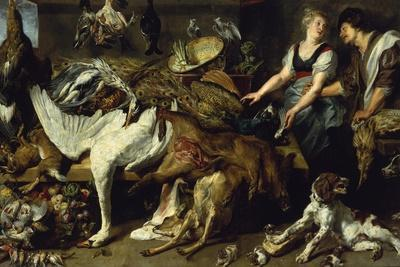 Still-Life with She-Dog and Her Puppies, as Well as a Male and Female Cook, C. 1625