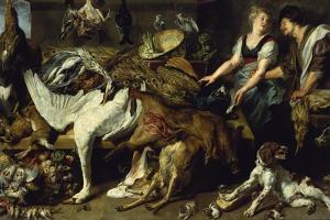 Still-Life with She-Dog and Her Puppies, as Well as a Male and Female Cook, C. 1625 by Frans Snyders