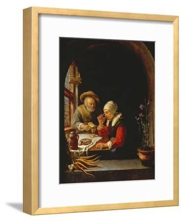 An Elderly Couple Eating