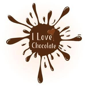 Vector Chocolate Blot with Text I Love Chocolate . Chocolate Badge Template with Chocolate Heart F by Frantisek Keclik