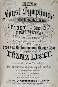 Title Page of Score for Faust Symphony by Franz Liszt