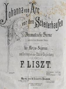 Title Page of Score for Joan of Arc at Stake by Franz Liszt