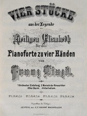 Title Page of Score for Legend of St. Elizabeth