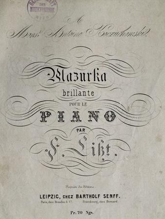 Title Page of Score for Mazurka Brillante for Piano