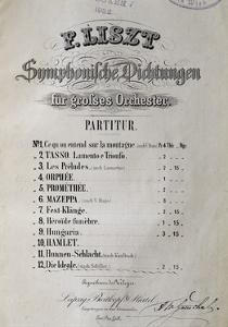 Title Page of Score for Symphony Ideal for Large Orchestra by Franz Liszt