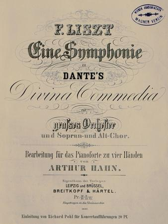 Title Page of Score for Symphony to Dante's Divine Comedy or Dante-Symphony, 1855-1856