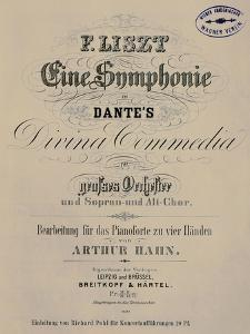 Title Page of Score for Symphony to Dante's Divine Comedy or Dante-Symphony, 1855-1856 by Franz Liszt
