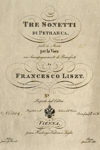 Title Page of Score for Three Sonnets of Petrarch by Franz Liszt