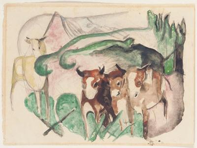 Animals in a Landscape (Three Cows and a Horse), 1913 by Franz Marc