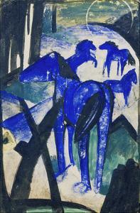 Die Mutterstute Der Blauen Pferde I., 1913. Postkarte an Else Lasker-Schueler by Franz Marc