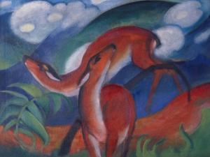 Die Roten Rehe Ii, 1912 by Franz Marc