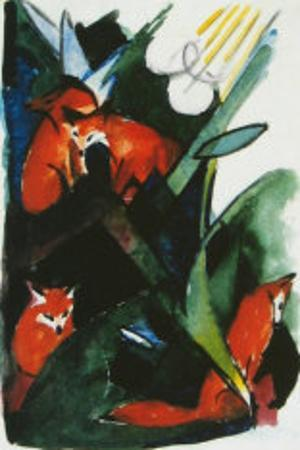 Four Foxes , Postcard to Kandinsky, c.1913 by Franz Marc