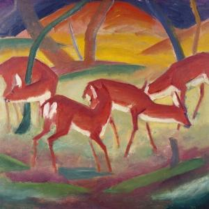 Red Deer; Rote Rehe 1 by Franz Marc