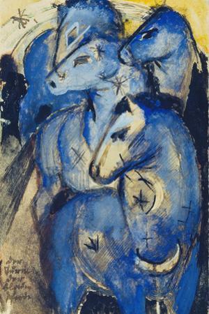 Tower of the Blue Horses, 1913 (Postcard to Else Lasker-Schueler) by Franz Marc