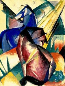 Zwei Pferde Rot Und Blau, 1912 by Franz Marc