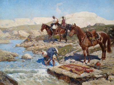 Cherkessian Horseman Crossing the River