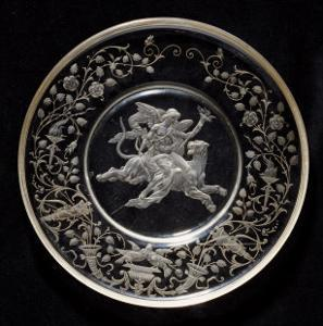 A J.& L. Lobmeyr Engraved Circular Dish by Franz Ullman