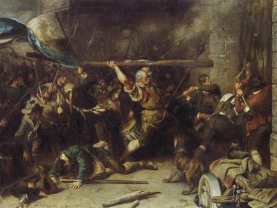 Die Erstuermung Des Roten Tores (Oder: Der Schmied Von Kochel), 1881 by Franz Von Defregger