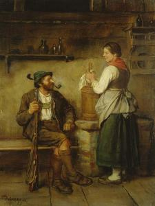 Huntsman and Maid Having a Chat in the Kitchen. after 1850 by Franz Von Defregger