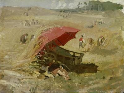 Der rote Schirm. Um 1860