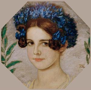 Daughter of the artist with cornflowers in her hair, 1909 by Franz von Stuck