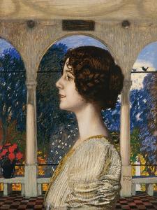 Female portrait, in the portico. 1905 by Franz von Stuck