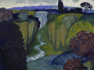 Landscape with Waterfall. 1896 by Franz von Stuck