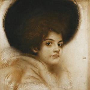 Portrait of a Lady with a Hat by Franz von Stuck