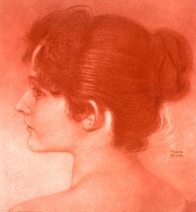 Study of a Female Head by Franz von Stuck