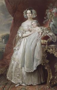 Hélène-Louise-Elisabeth de Mecklembourg-Schwerin, duchesse d'Orléans (1814-1858) avec le prince by Franz Xaver Winterhalter