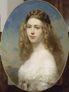 Portrait de la Princesse Amélie de Bavière. by Franz Xaver Winterhalter