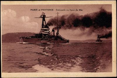 Französische Kriegsschiffe Paris Und Provence--Giclee Print