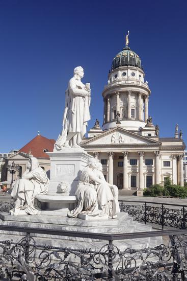 Franzoesischer Dom (French Cathedral), Schiller memorial, Gendarmenmarkt, Mitte, Berlin, Germany, E-Markus Lange-Photographic Print