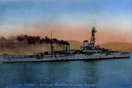 Französisches Kriegsschiff Courbet, Cuirassé--Giclee Print